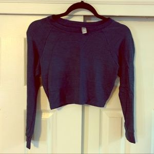 American Apparel Blue Long Sleeved Crop Top Medium